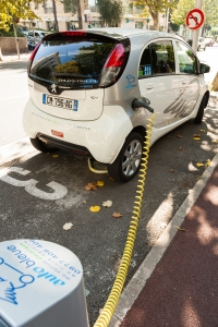 Electric car in Nice at charge point.