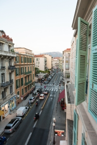 View from out the hotel window in Nice.