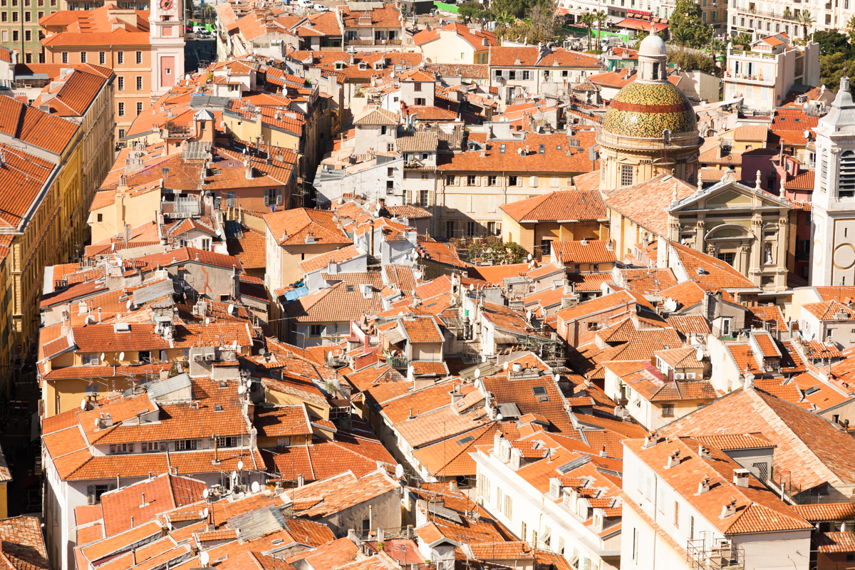 View of roofs in Nice around a church