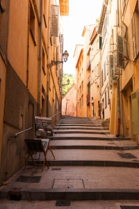 Shot of steps and street scene in Nice.