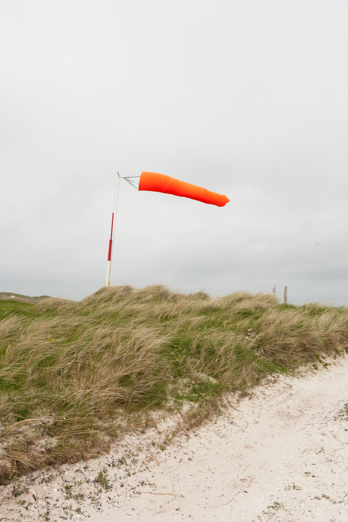 The Barra airport windsock in strong winds.