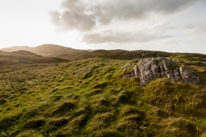 View looking up hills towards the setting sun with late evening light showing on the grass and rocks.