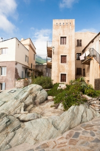 Village square, paving and rock garden in Erbalunga on Corsica.