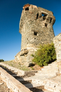 Looking up the steps at the Torra Di Nonza.