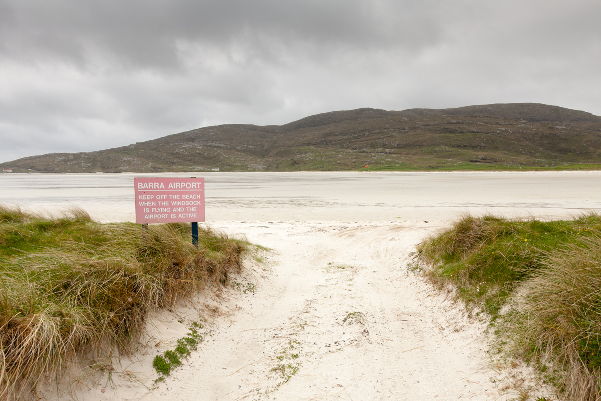 Barra airport beach with warning sign visible